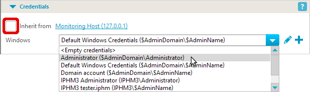 WMI credentials section