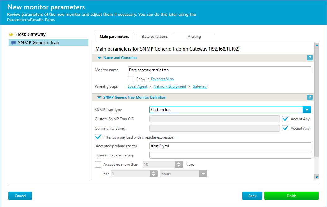 Sample generic SNMP trap definition