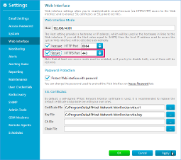 Web interface settings