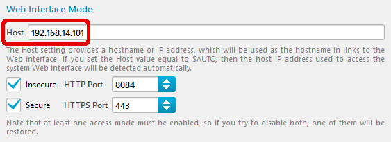 Web Interface address
