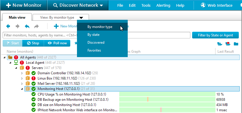 view menu iphost network monitor interfaces windows client gui web net