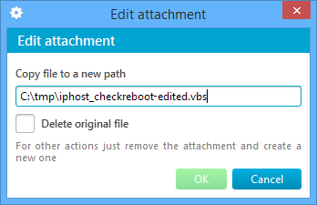 Prompt to edit template attachment