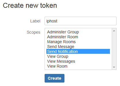 Create new HipChat token