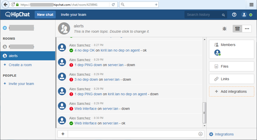 HipChat notifications - see alerts in HipChat room