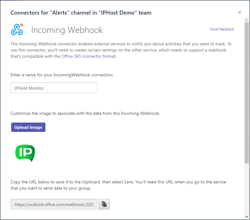 Microsoft Teams notifications - connector settings