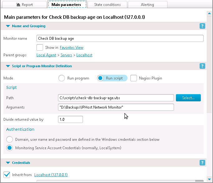 DB backup age checking script