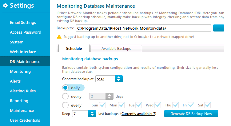 DB Maintenance settings