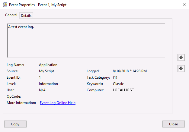 Event viewer entry