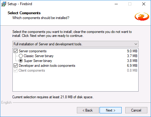 Installing Firebird Server 2.5 - additional tasks