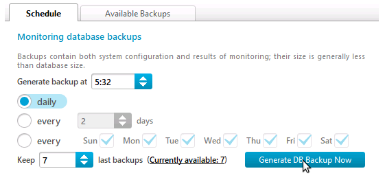 Generate DB backup now