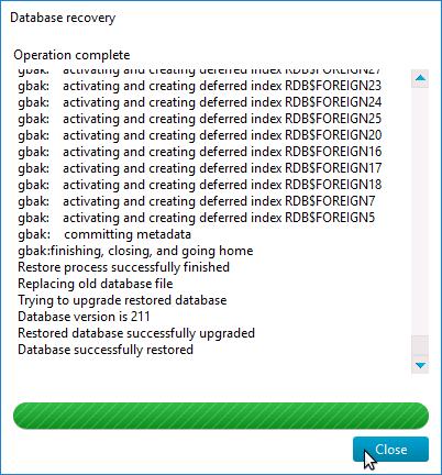 Restore generated DB backup