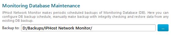 DB maintenance settings: backups location
