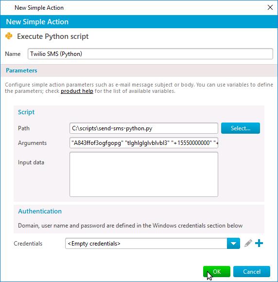 Send Twilio SMS via Python script