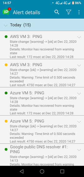 Android app alerts details